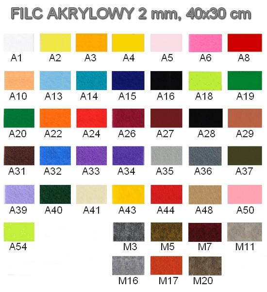 Karta kolorów - filc w arkuszach.